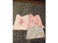 Baby girls fleece sleepsuit and Disney pyjamas 0-3 months