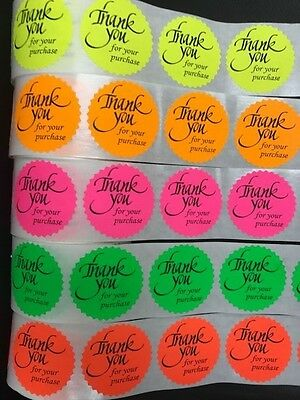 500 Thank You For Your Purchase Neon Labels Stickers Starburst Fluorescent 2