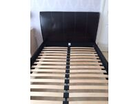 Brown Leather Double Bed Frame - Without Mattress