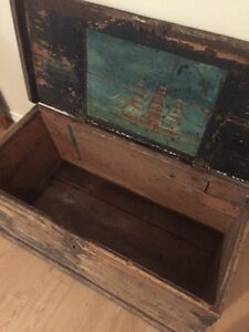 Antique Wooden Chest with Hand Painted Picture - Reduced!!