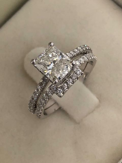 Diamond Engagement Ring With Matching Band D/vs2 3.00 Ct Radiant 14k White Gold