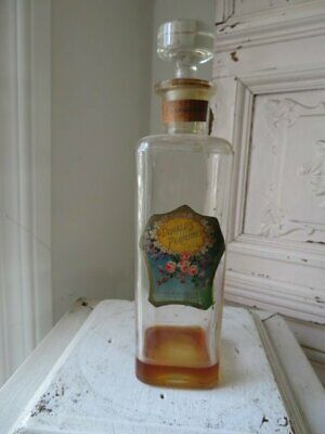 STUNNING Old Vintage Glass PERFUME BOTTLE Donald's Perfumes Label PINK ROSES Old Antique Perfume Bottle