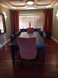 Extendable custom made dining table with 10 chairs and buffet