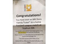 MK Dons football league match family ticket £30