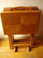5-Piece Wooden Folding TV Tray Table Set