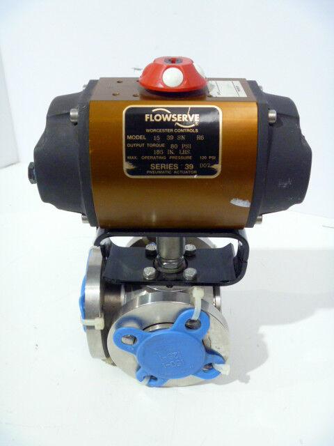 "1"" Flowserve Worcester BE1866T150TA1 3-Way CF8M Control Valve 39 Actuator NEW"
