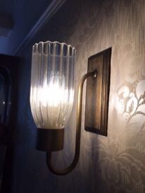 Pair antiqued brass wall lights