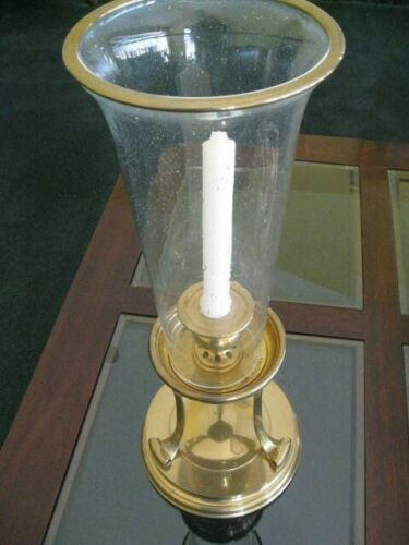 Chapman RARE Seeded Glass  Brass Hurricane Candle Holder