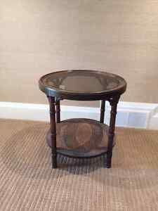 Brown round side table
