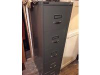 Vintage Bisley industrial 5 drawer filing cabinet with key