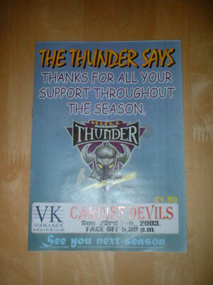 2002/03 HULL THUNDER V CARDIFF DEVILS ICE HOCKEY