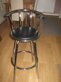 kitchen chair stool black and chrome seat turns round as new 10 pounds for quick sale