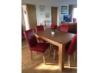 6 x dining room chairs only, red leather style