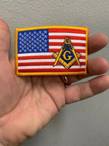 Masonic Gold Boarder American Flag patch, Masonic Riders, Masonic Bikers