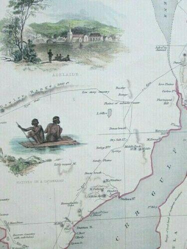 1851 SOUTH AUSTRALIA Tallis/Rapkin * ORIGINAL DECORATIVE ANTIQUE MAP