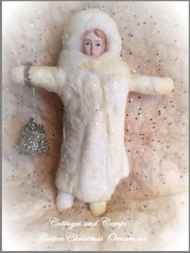 Primitive Antique Victorian Style Little Girl Cotton Batting Christmas Ornament