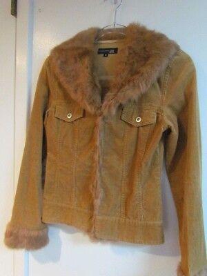Ladies Fur trimmed Corduroy Jacket, SMALL, 100% Cotton, 100% rabbit fur, Caramel for sale  Lynbrook