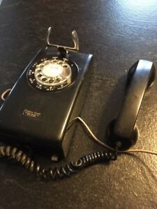 Vintage black rotary dial Northern Electric wall phone