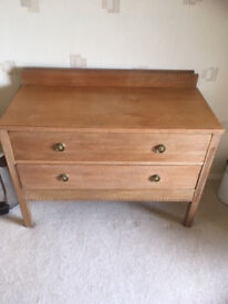 chest of 2 drawers in lightwood