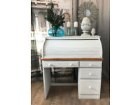 Pine roll top desk in shabby chic style