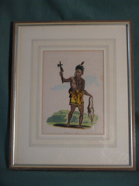 North American Indian Tomahawk Hand Colored Print Christopher Kelly Framed RARE