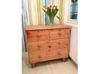 Vintage pine chest with three drawers. Pretty piece of furniture. Surplus to requirements