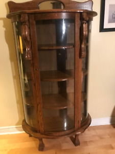 Antique Oak China Curio Cabinet