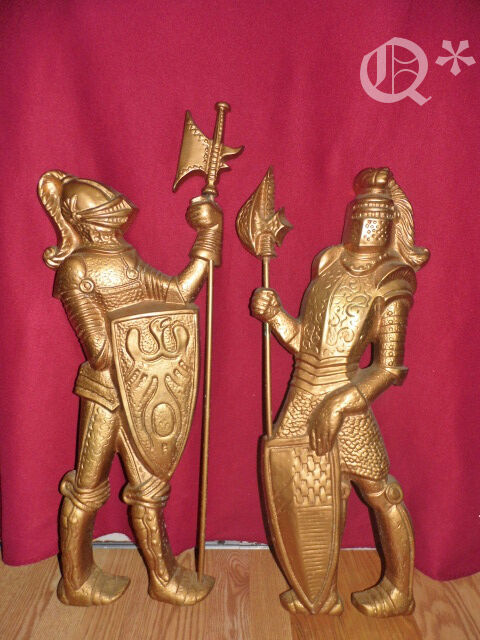 "2 Metal medieval KNIGHTS Gothic31"" Made In Japan"