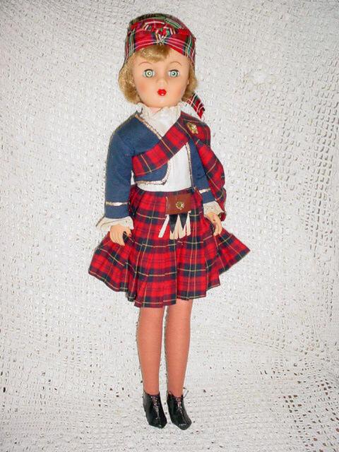 "Beautiful--Vtg-20""-Scotish Scotland Sleep Pinwheel Eye Kilt Doll"