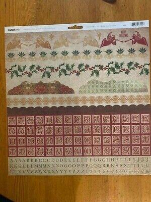 """Kaisercraft 12""""x12"""" December 25th Alpha Sticker Sheet, SS110, unused, Christmas"""