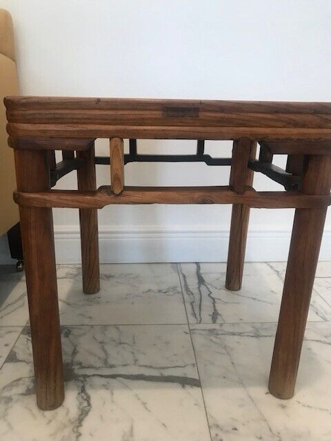 Pair of Chinese Elm Square End Side Tables Meditation c. 1850