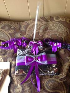 Wedding camo purple decorations
