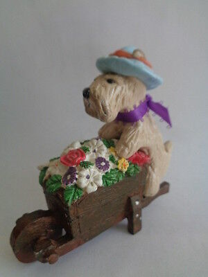 OOAK~WHEATEN TERRIER GARDENING OUTDOORS WEARING A CUTE HAT~ART COLLECTIBLE