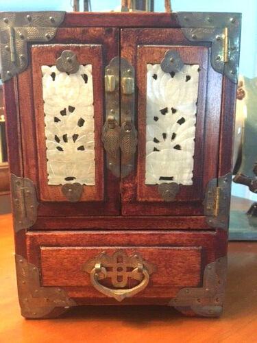 Vintage Asian jewelry box 4 jade panels Shanghai China