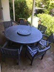 Solid Jarrah Timber Outdoor Dining. 6 chairs, painted grey/blue Kenmore Hills Brisbane North West Preview
