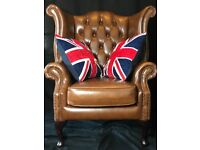 Chesterfield Leather Reproduction Wingback Chair