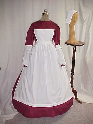 GIRLS Susan B Anthony NURSE Civil War,Victorian Costume Dress Set Cotton Blend  - Nursing Costumes