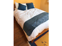 """""""Get Laid"""" double bed (wood) with pocket mattress, almost new"""