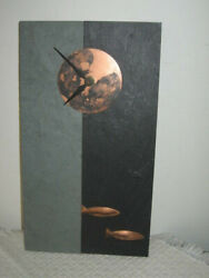 Sandra Miller Studio Handcrafted Slate Wall Clock Copper Moon, Fish 11.5x6.5