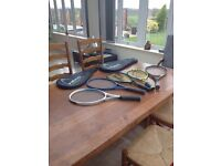 5 tennis racquets and carrying bag; great for whole family