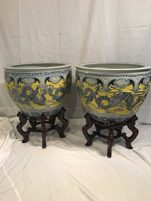 2 Large Carved Chinese Porcelain Dragon Fishbowl Imperial Planters Yellow Glaze