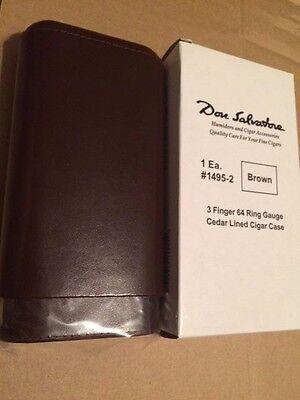 Don Salvatore Brown 3 Finger Cedar Lined Leather 64 Ring Gauge Cigar Case 1495-2