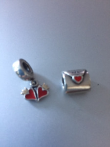 Two Retired Pandora Charms - Love Letter and Dangling Hearts