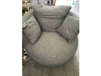 John Lewis Navy Tweed Style Cuddle Swivel Armchair