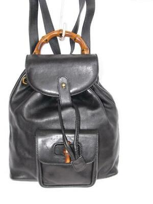 Authentic Vintage Gucci Bamboo Mini Backpack Black Leather Bag