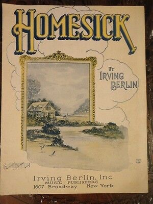Home Sick Sheet Music 1922 by Irving Berlin Great to Frame Vintage