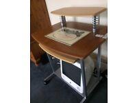 Desk for desktop computer and keyboard