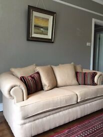 Fultons 3 Seater Sofa, No Marks, Optional : Mulberry Cushions & Ian Thompson Full Length Curtains