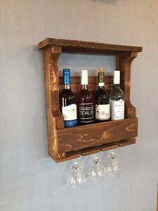 Wine Rack - solid wood - rustic - 4 Bottle 3 Glass - wall mount