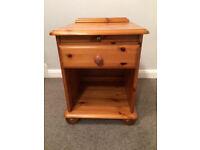 Pine bedside unit with drawer and sliding shelf